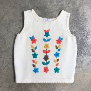 Vintage Fall Embroidered Sleeveless Wool Sweater